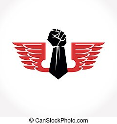 Vector illustration created with clenched fist of a strong...