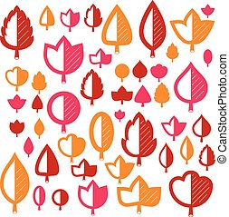 Vector illustration of orange and red tree leaves isolated...
