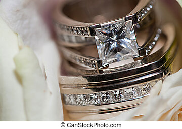 Wedding Rings Closeup - Extreme closeup picture of wedding...