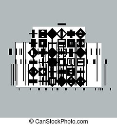 Vector geometric composition, abstract graphic art.