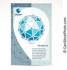 New technology theme booklet cover design, front page. 3D...