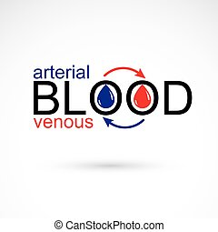 Arterial and venous blood conceptual illustration, blood circulation metaphor, medical theme vector graphic symbol.
