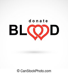 Save life and donate blood, rehabilitation conceptual vector illustration created using heart shape and blood drops.