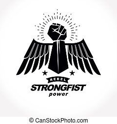 Strong raised arm of athletic man vector illustration....