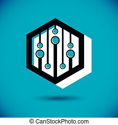 Technology communication cybernetic element. Vector abstract...