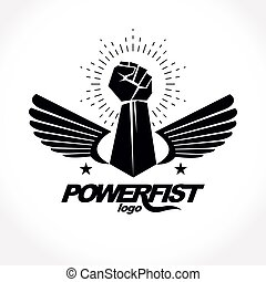 Strong fist of an active sportsman vector symbol created...