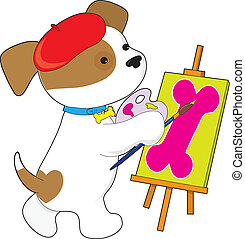 Cute Puppy Artist - A cute puupy is painting a picture of a...
