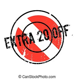 Extra 20 Off rubber stamp. Grunge design with dust...