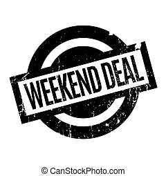 Weekend Deal rubber stamp. Grunge design with dust...