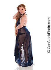 Redhead in black - Curvy young redhead in a sheer black gown