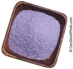 Purple Bath Salts - Purple bath salts in a wooden bowl.