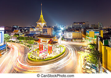 Bangkok Chinatown - The Gateway Arch Odeon Circle and Wat...