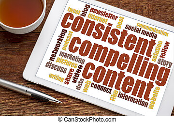 consistent, compelling content word cloud - consistent,...
