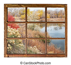 lake at late fall - window view