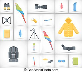 Birding travel flat vector icons set, big set of flat design...