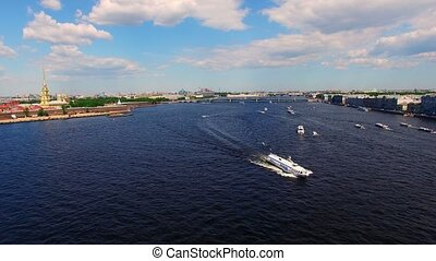 Saint-Petersburg aerial view on river Neva at sunny day