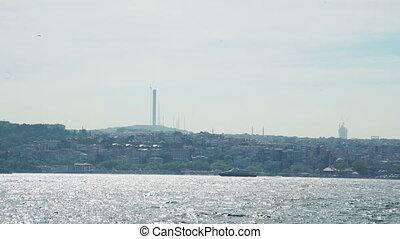 Turkey Istanbul Bosphorus and city landscape. Passenger...