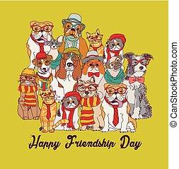 Group fashion best friends pets fun animals green card....