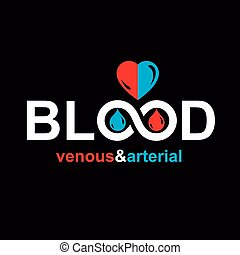 Arterial and venous blood, blood circulation conceptual vector illustration. Healthy lifestyle conceptual logo for use in pharmacology.