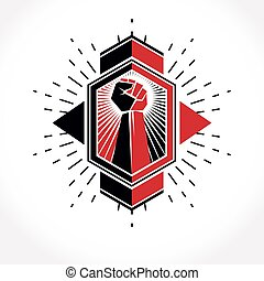 Revolution leader abstract sign, vector red clenched fist...