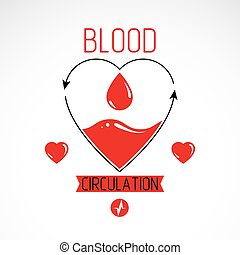 Vector illustration of heart shape full of blood composed...