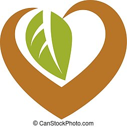 Vector heart shape illustration composed with green leaves. Living in harmony with nature concept, green health idea symbol.