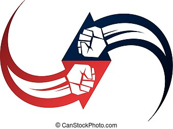 Vector illustration of clenched fist in the shape of arrow....