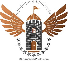 Ancient Citadel emblem. Heraldic vector design element....