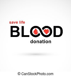 Blood donation inscription isolated on white and created...