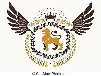 Vintage winged emblem created in vector heraldic design and composed using wild lion illustration and imperial crown.