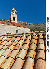 Roof Tiles and Church in Dubrovnik, Croatia