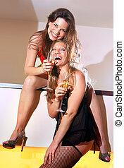 Cheerful girl-friends - two cheerful girl-friends having fun...