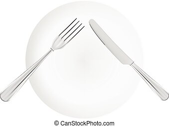 White Plate With Fork And Knife. Top View Isolated On A White Background.