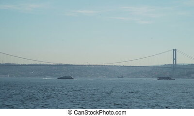 View of Bosphorus Bridge and passengers ships - Istanbul...