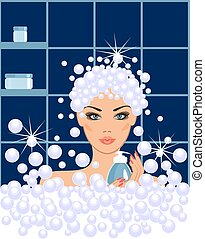 Spa beauty in vector - a young girl caring for her body