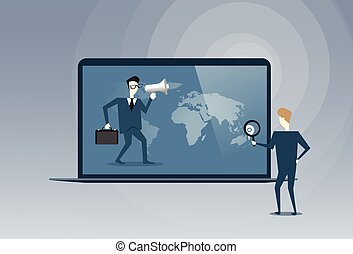 Business People Virtual Meeting Partners Talking Using Laptop Computer Digital Cooperation Concept