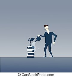 Business Man Watering Plant Growing On Books Stack Strategy Success Development Concept