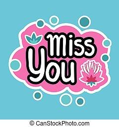 Miss You Sticker Social Media Network Message Badges Design...