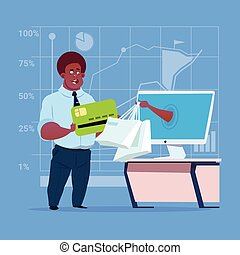 African American Business Man Use Computer Online Shopping Bag Businessman Hand Screen Buying Through Internet Commerce