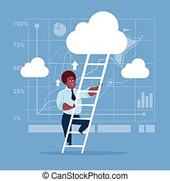 African American Businessman Climb Up Ladder Stairs, Concept Business Man Sky Clouds