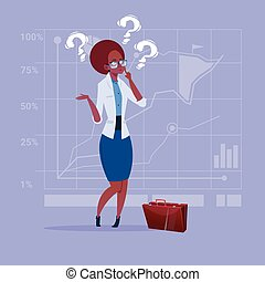 African American Business Woman With Question Mark Pondering...