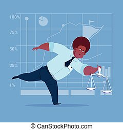 African American Business Man Holding Weights Scale Legal...