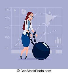 Business Woman Chain Bound Hands Credit Debt Finance Crisis...