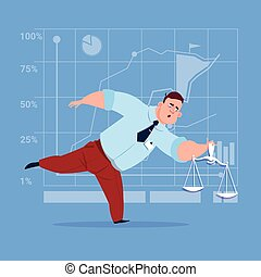 Business Man Holding Weights Scale Legal Service Concept...