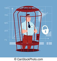 Business Man In Cage Prisoner Financial Problem Concept Flat...
