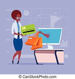 African American Business Woman Use Computer Online Shopping Bag Hand Screen Buying Through Internet Commerce
