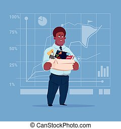 African American Business Man Hold Box With Office Stuff...
