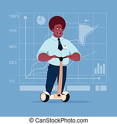 African American Business Man Ride Electric Scooter Modern Eco Transport