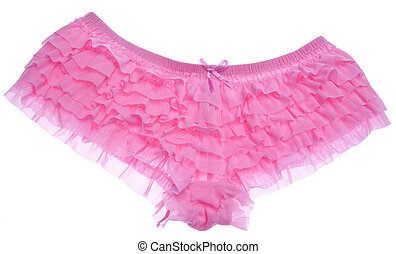Ruffled Pink Panties Isolated on White with a Clipping Path.