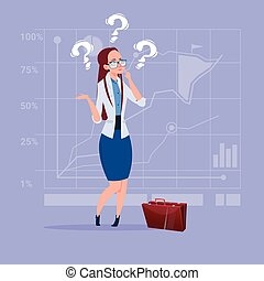 Business Woman With Question Mark Pondering Problem Concept...